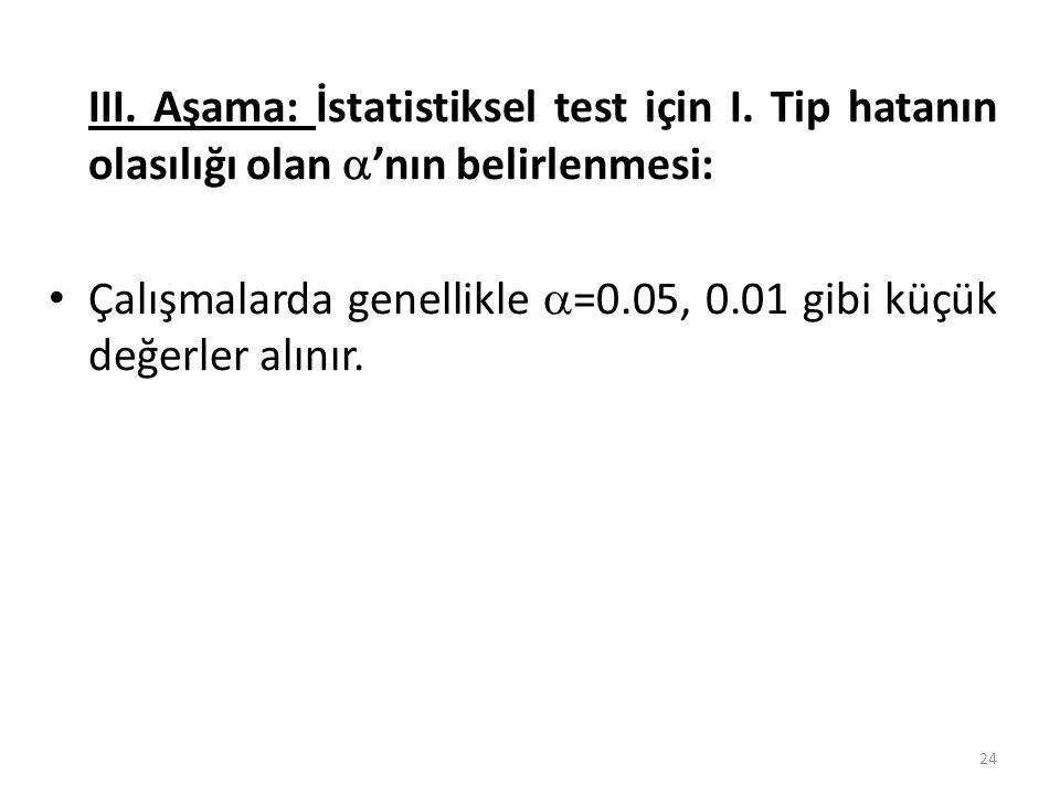 III. Aşama: İstatistiksel test için I. Tip hatanın olasılığı olan  'nın belirlenmesi: Çalışmalarda genellikle  =0.05, 0.01 gibi küçük değerler alını