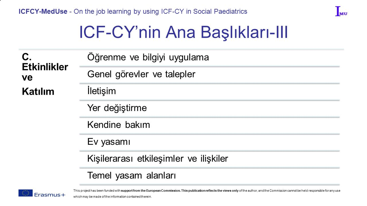 ICFCY-MedUse - On the job learning by using ICF-CY in Social Paediatrics ICF-CY'nin Ana Başlıkları-III C.