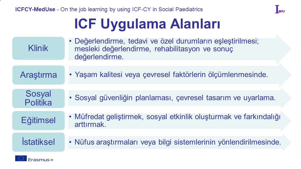 ICFCY-MedUse - On the job learning by using ICF-CY in Social Paediatrics ICF Uygulama Alanları Değerlendirme, tedavi ve özel durumların eşleştirilmesi; mesleki değerlendirme, rehabilitasyon ve sonuç değerlendirme.