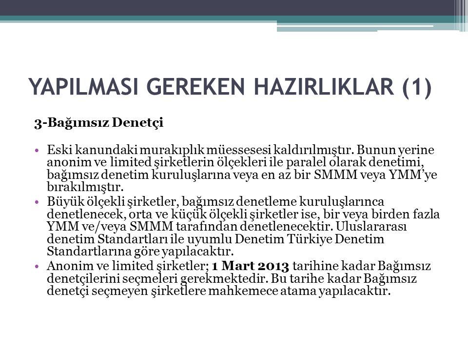 YAPILMASI GEREKEN HAZIRLIKLAR (1) 4-Sermaye Artırımı Sermayeleri 50.000 TL den az olan Anonim şirketler ile sermayeleri 10.000 TL'den az olan limited şirketler sermayelerini Yeni Türk Ticaret Kanununun yayımı tarihinden itibaren üç yıl içinde yani 14 Şubat 2014 tarihine kadar öngörülen tutarlara yükseltmek zorundadırlar.