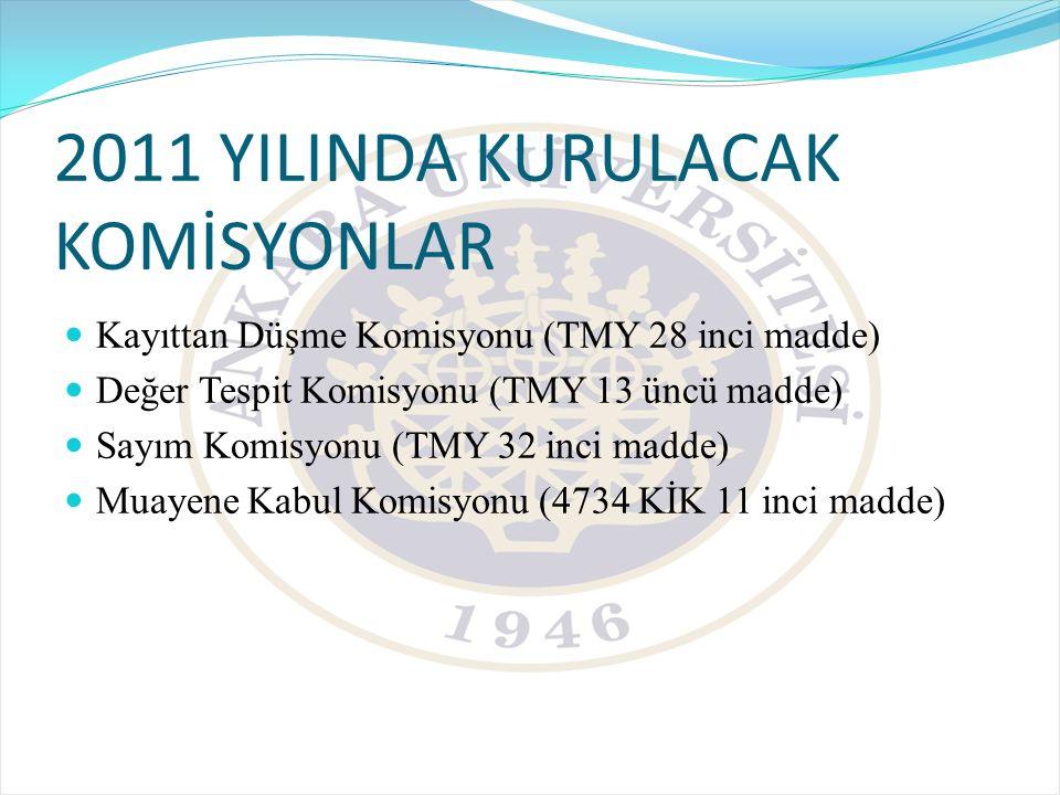 2011 YILINDA KURULACAK KOMİSYONLAR Kayıttan Düşme Komisyonu (TMY 28 inci madde) Değer Tespit Komisyonu (TMY 13 üncü madde) Sayım Komisyonu (TMY 32 inc
