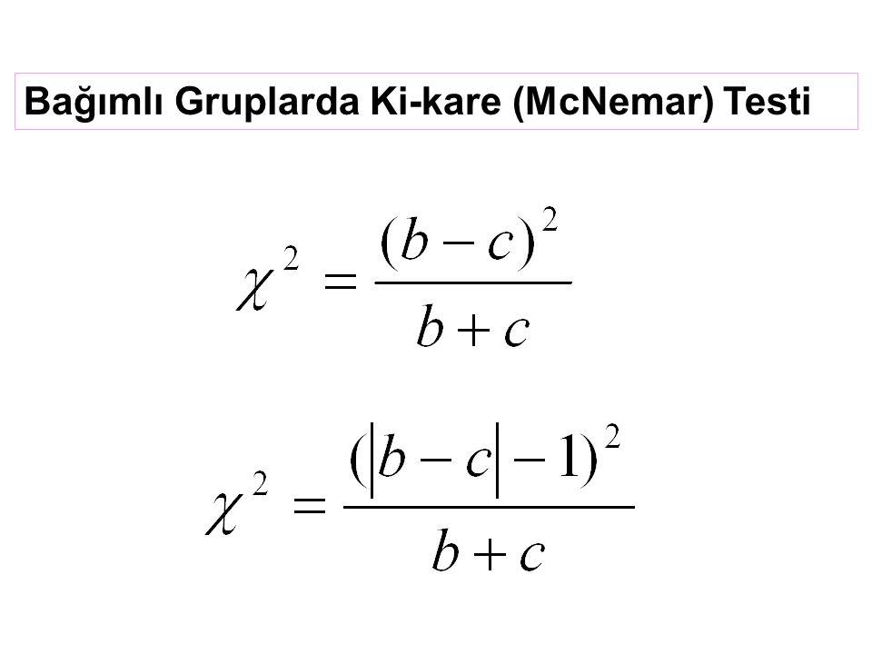 Bağımlı Gruplarda Ki-kare (McNemar) Testi