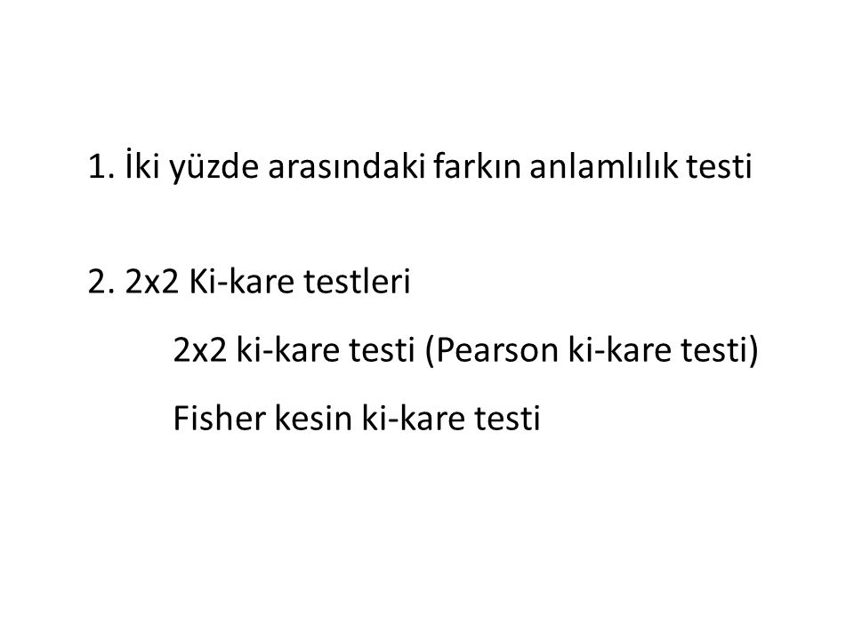 1. İki yüzde arasındaki farkın anlamlılık testi 2.