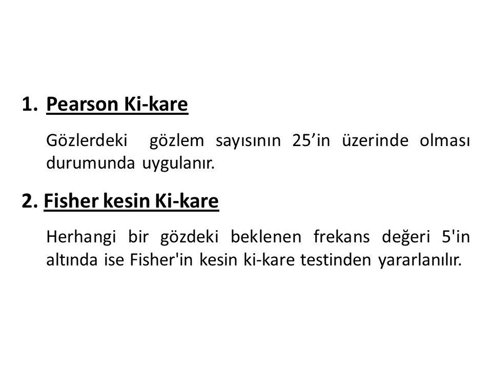 1.Pearson Ki-kare Gözlerdeki gözlem sayısının 25'in üzerinde olması durumunda uygulanır.