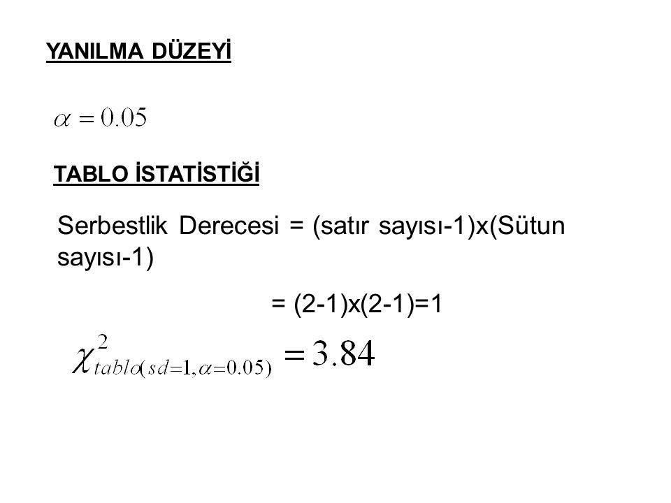 YANILMA DÜZEYİ Serbestlik Derecesi = (satır sayısı-1)x(Sütun sayısı-1) = (2-1)x(2-1)=1 TABLO İSTATİSTİĞİ