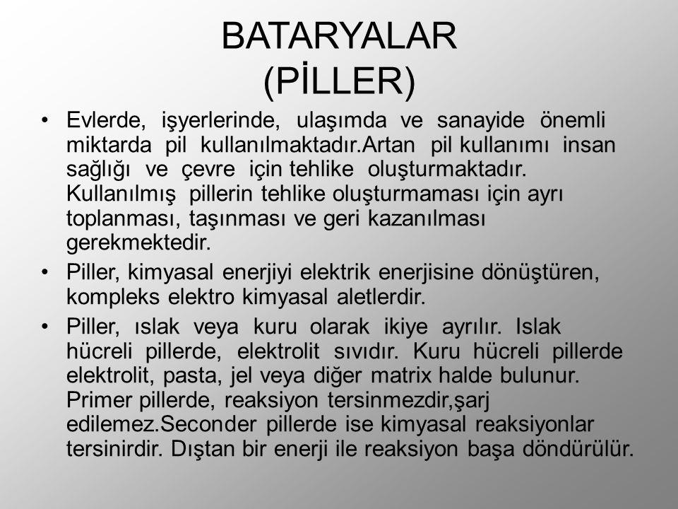 BATARYALAR (PİLLER) Evlerde, işyerlerinde, ulaşımda ve sanayide önemli miktarda pil kullanılmaktadır.Artan pil kullanımı insan sağlığı ve çevre için tehlike oluşturmaktadır.