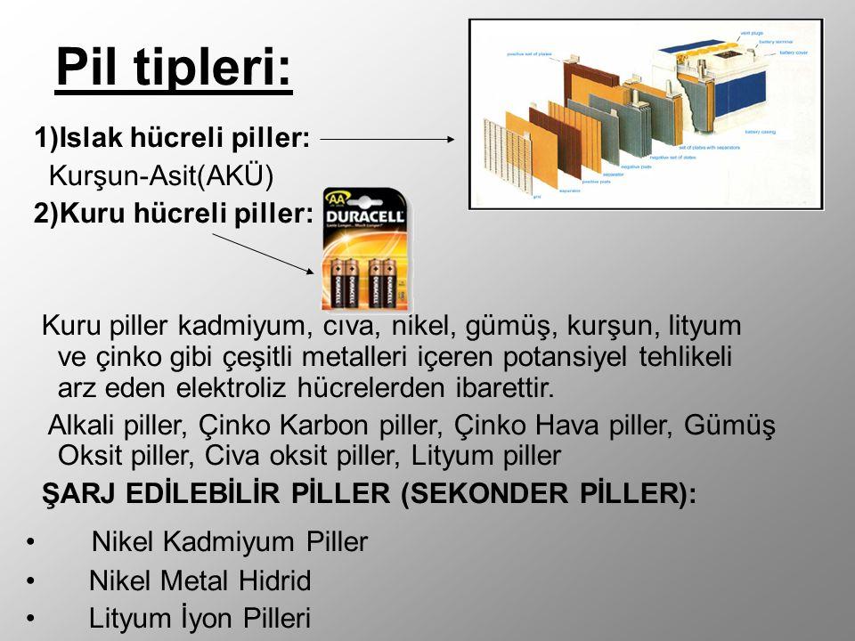 Pil tipleri: 1)Islak hücreli piller: Kurşun-Asit(AKÜ) 2)Kuru hücreli piller: Kuru piller kadmiyum, cıva, nikel, gümüş, kurşun, lityum ve çinko gibi çeşitli metalleri içeren potansiyel tehlikeli arz eden elektroliz hücrelerden ibarettir.