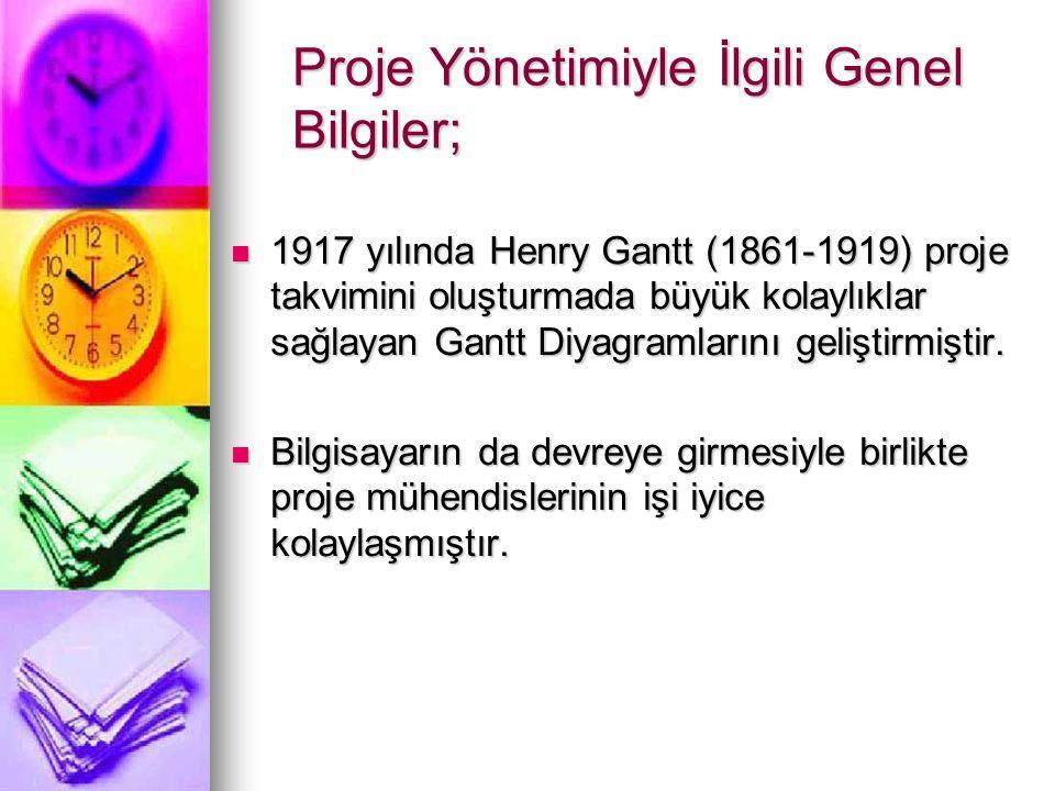 Proje Yönetimiyle İlgili Genel Bilgiler; 1917 yılında Henry Gantt (1861-1919) proje takvimini oluşturmada büyük kolaylıklar sağlayan Gantt Diyagramlarını geliştirmiştir.