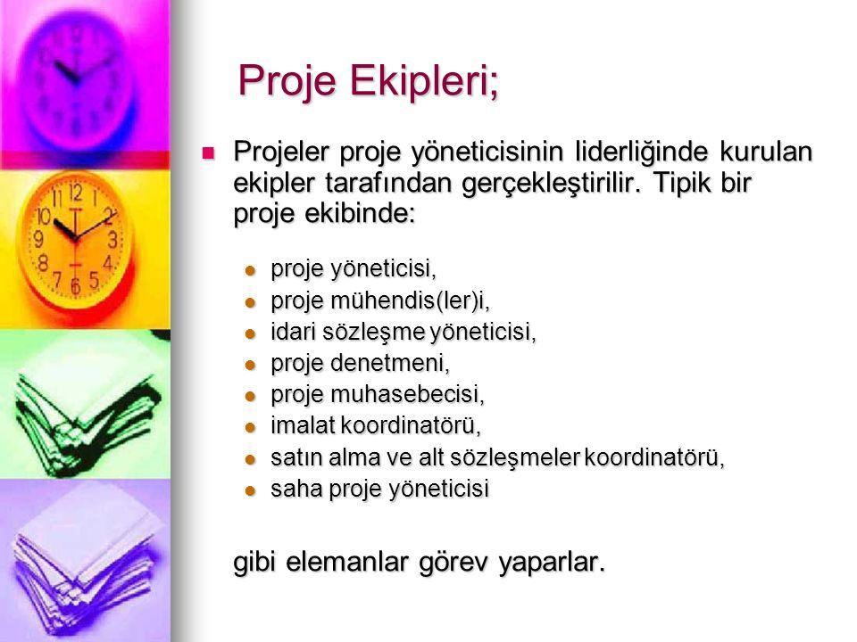 Proje Ekipleri; Projeler proje yöneticisinin liderliğinde kurulan ekipler tarafından gerçekleştirilir.