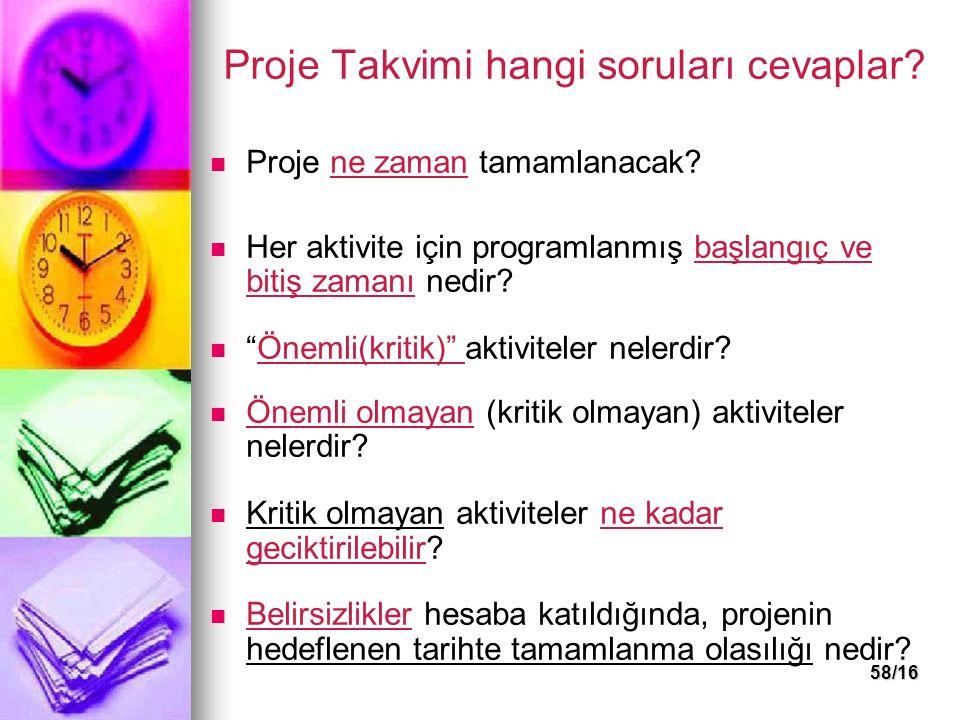 58/16 Proje Takvimi hangi soruları cevaplar.Proje ne zaman tamamlanacak.