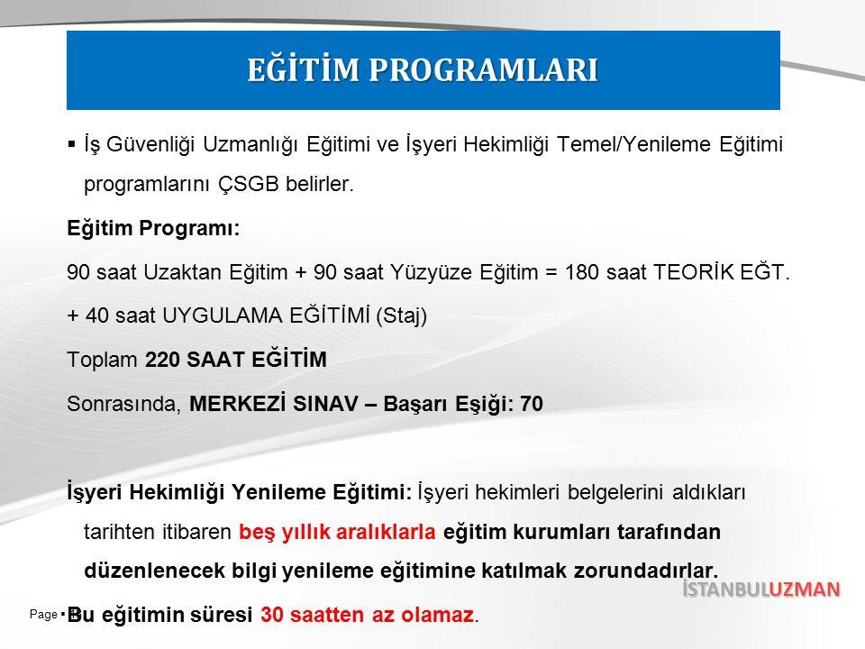 Page  18 İSTANBULUZMAN  İş Güvenliği Uzmanlığı Eğitimi ve İşyeri Hekimliği Temel/Yenileme Eğitimi programlarını ÇSGB belirler.