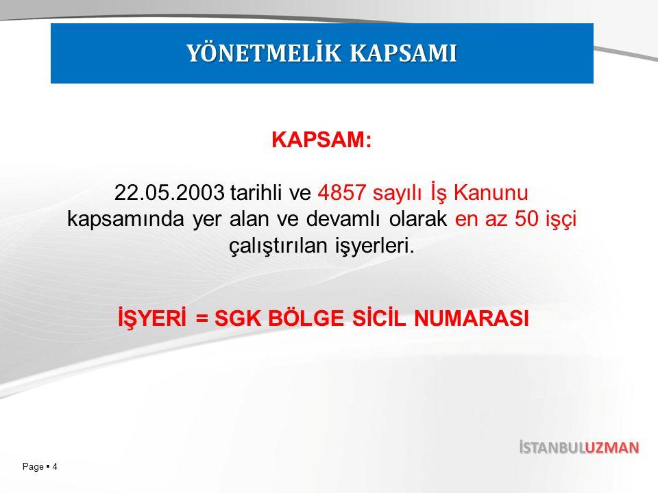 Page  4 İSTANBULUZMAN YÖNETMELİK KAPSAMI KAPSAM: 22.05.2003 tarihli ve 4857 sayılı İş Kanunu kapsamında yer alan ve devamlı olarak en az 50 işçi çalıştırılan işyerleri.