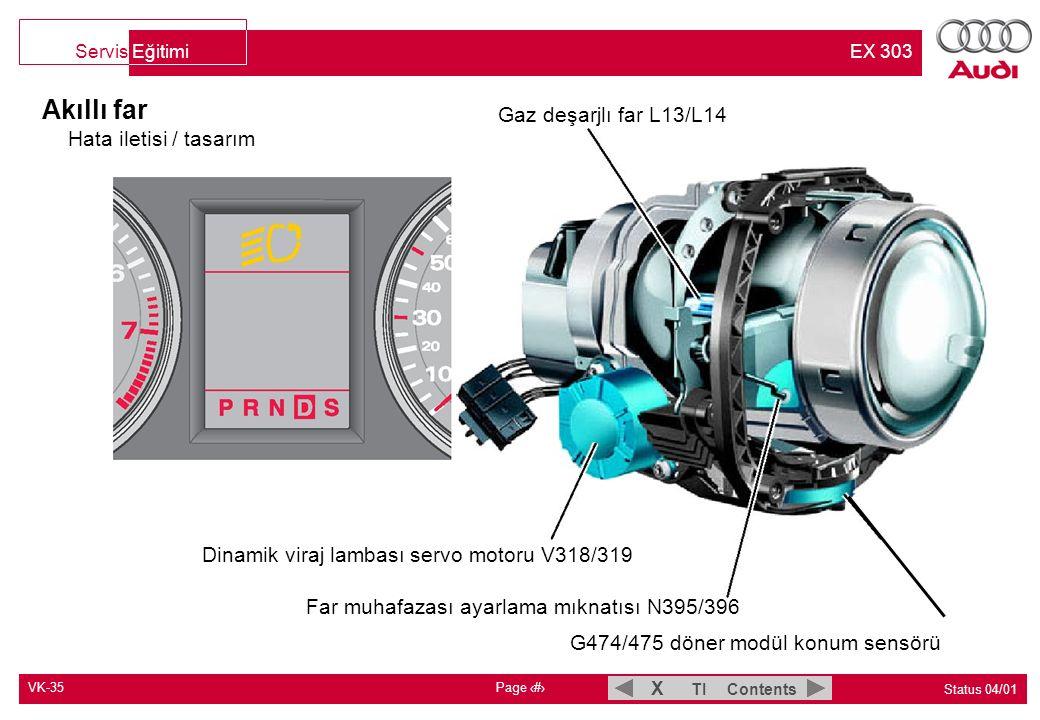 VK-35 Page 3 Status 04/01 TI Contents X Servis Eğitimi EX 303 Akıllı far Hata iletisi / tasarım Gaz deşarjlı far L13/L14 Dinamik viraj lambası servo m