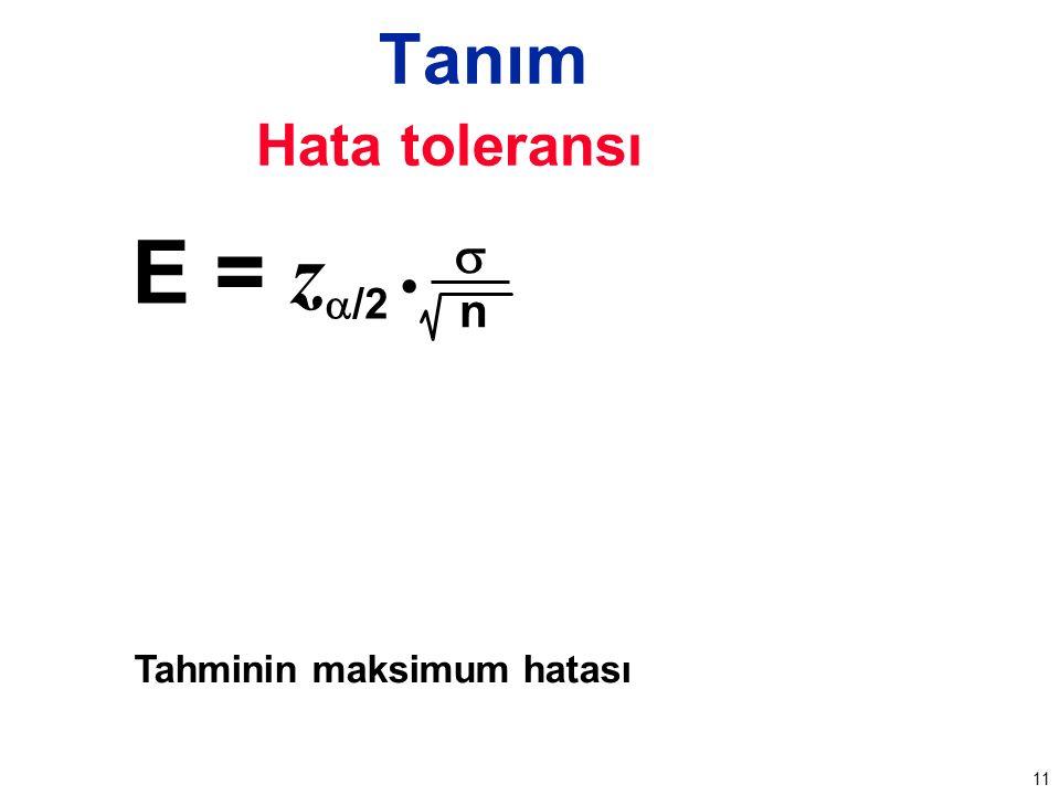 11 Tanım Hata toleransı Tahminin maksimum hatası E = z  /2  n