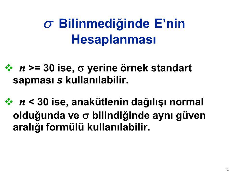 15  Bilinmediğinde E'nin Hesaplanması  n >= 30 ise,  yerine örnek standart sapması s kullanılabilir.