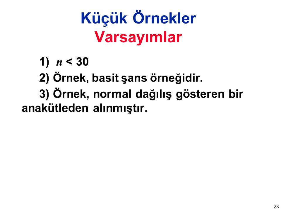 23 1) n < 30 2) Örnek, basit şans örneğidir.
