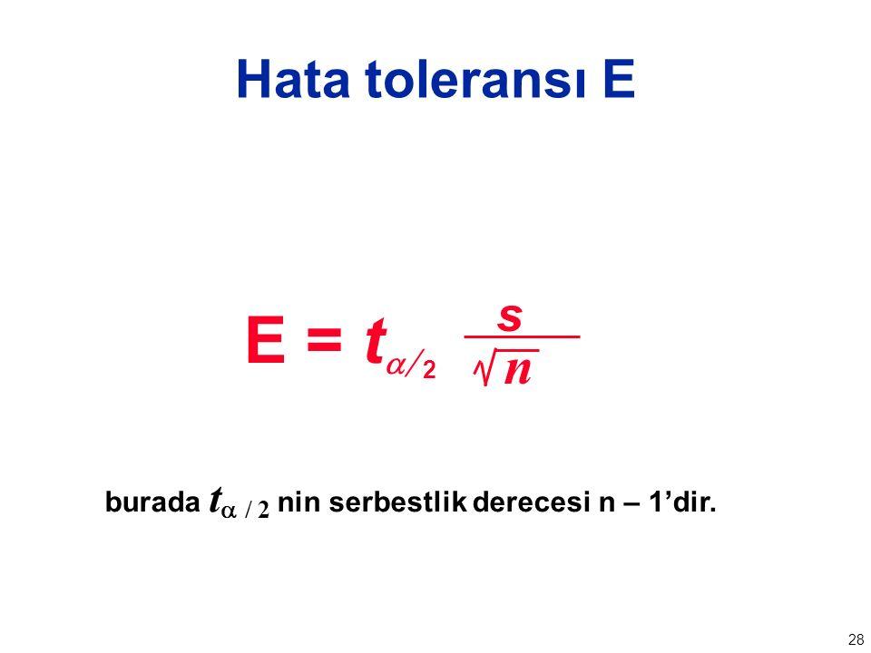 28 Hata toleransı E burada t  / 2 nin serbestlik derecesi n – 1'dir. n E = t   s 2