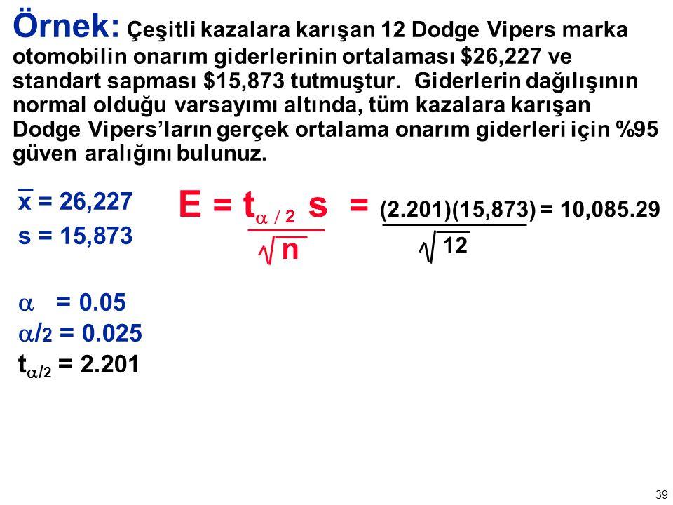 39 Örnek: Çeşitli kazalara karışan 12 Dodge Vipers marka otomobilin onarım giderlerinin ortalaması $26,227 ve standart sapması $15,873 tutmuştur.