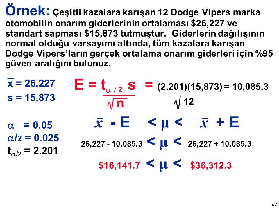 42 Örnek: Çeşitli kazalara karışan 12 Dodge Vipers marka otomobilin onarım giderlerinin ortalaması $26,227 ve standart sapması $15,873 tutmuştur.