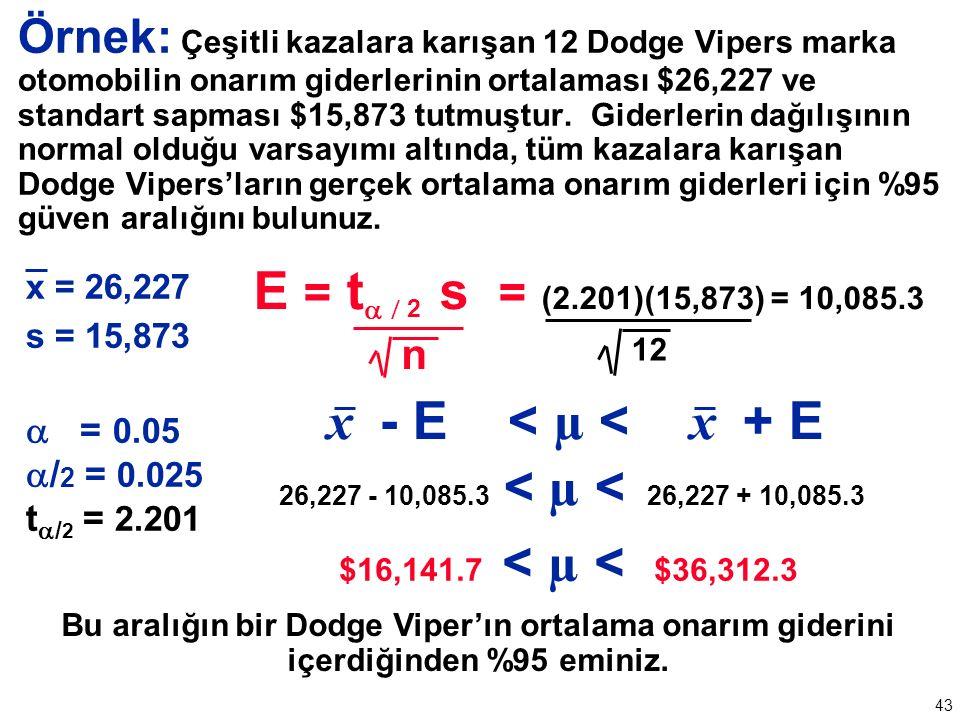 43 Örnek: Çeşitli kazalara karışan 12 Dodge Vipers marka otomobilin onarım giderlerinin ortalaması $26,227 ve standart sapması $15,873 tutmuştur.