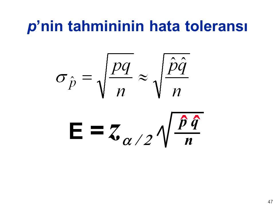 47 p'nin tahmininin hata toleransı zz  E = n ˆˆ p q