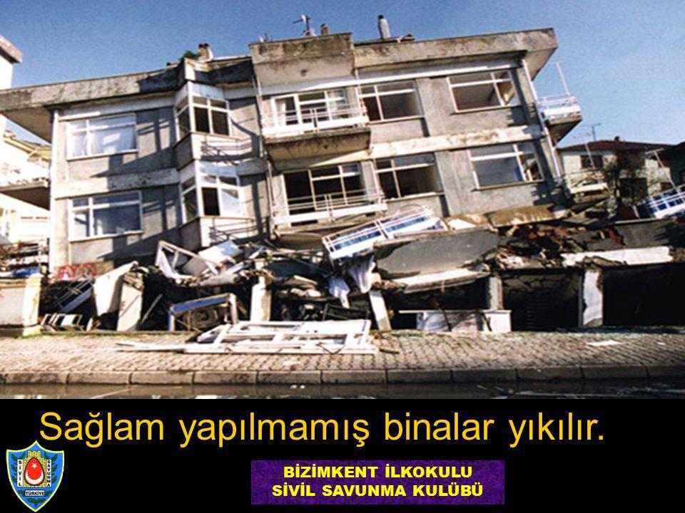Sağlam yapılmamış binalar yıkılır. BİZİMKENT İLKOKULU SİVİL SAVUNMA KULÜBÜ