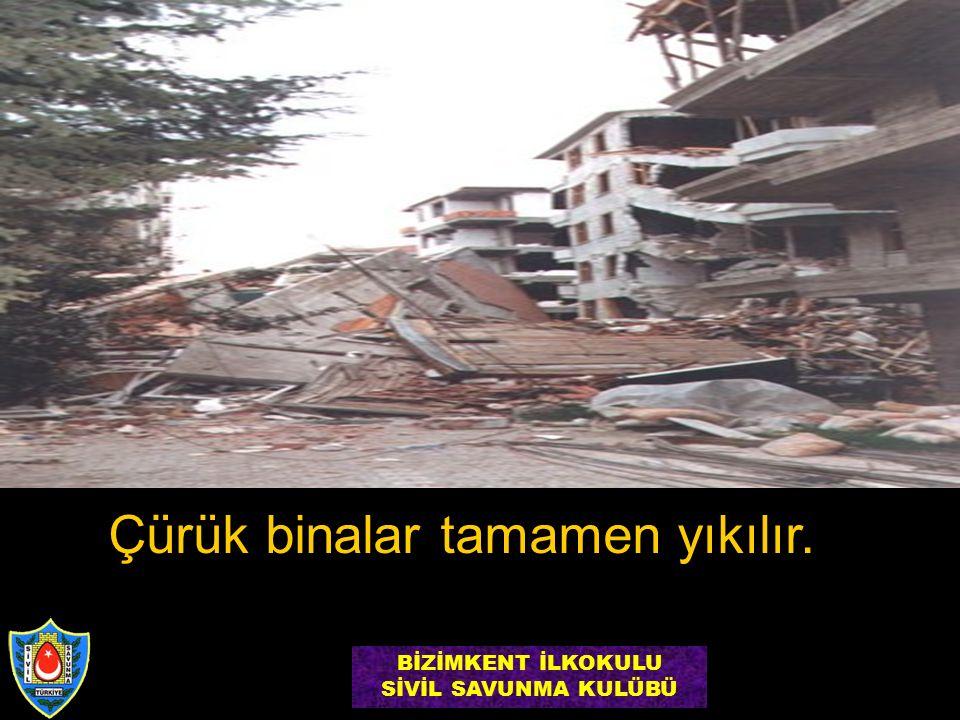 Çürük binalar tamamen yıkılır. BİZİMKENT İLKOKULU SİVİL SAVUNMA KULÜBÜ
