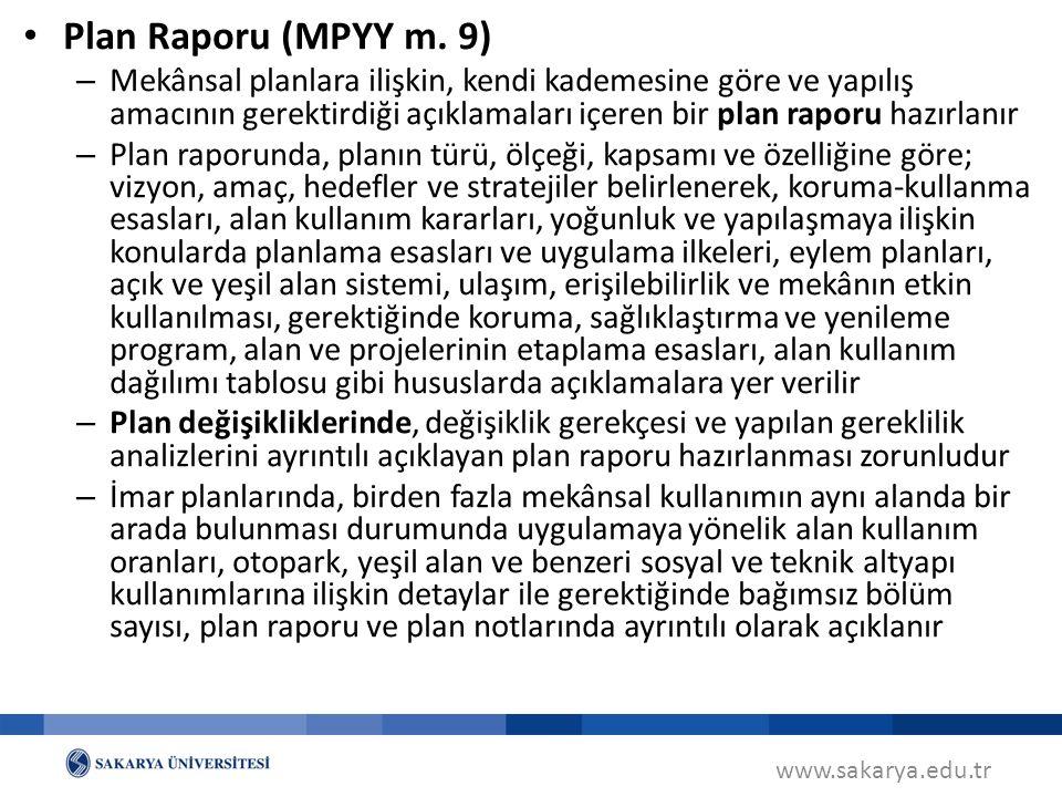 www.sakarya.edu.tr Plan Raporu (MPYY m.