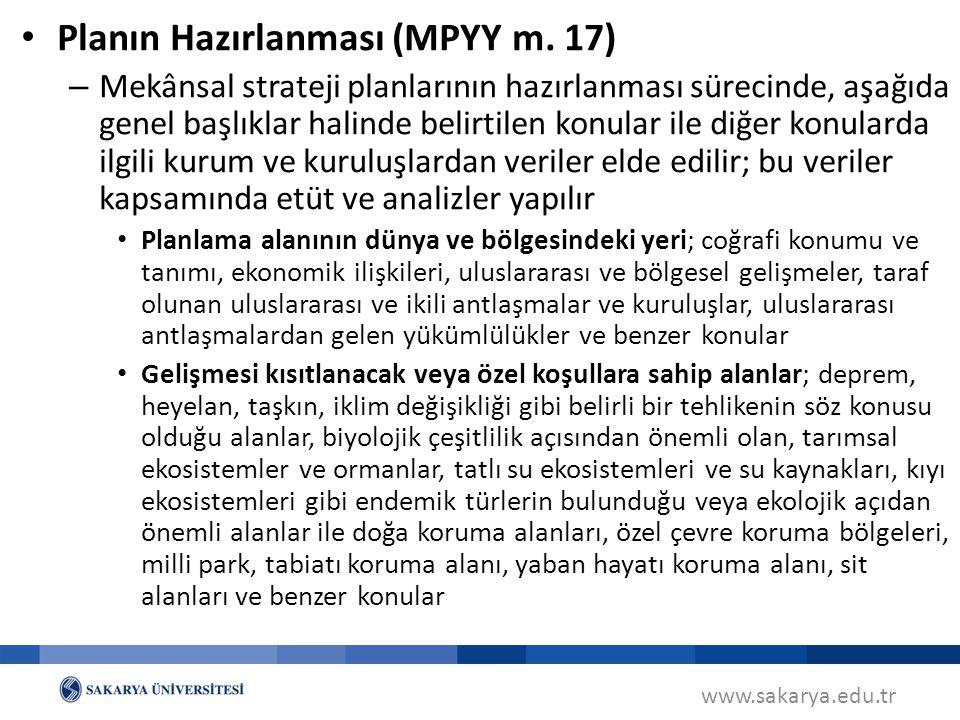 www.sakarya.edu.tr Planın Hazırlanması (MPYY m.
