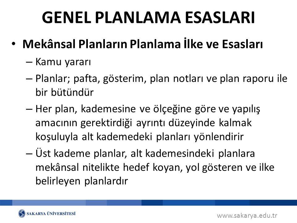 www.sakarya.edu.tr Mekânsal Planların Planlama İlke ve Esasları – Kamu yararı – Planlar; pafta, gösterim, plan notları ve plan raporu ile bir bütündür