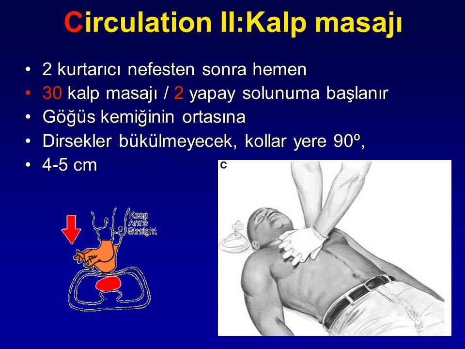 2 kurtarıcı nefesten sonra hemen2 kurtarıcı nefesten sonra hemen 30 kalp masajı / 2 yapay solunuma başlanır30 kalp masajı / 2 yapay solunuma başlanır