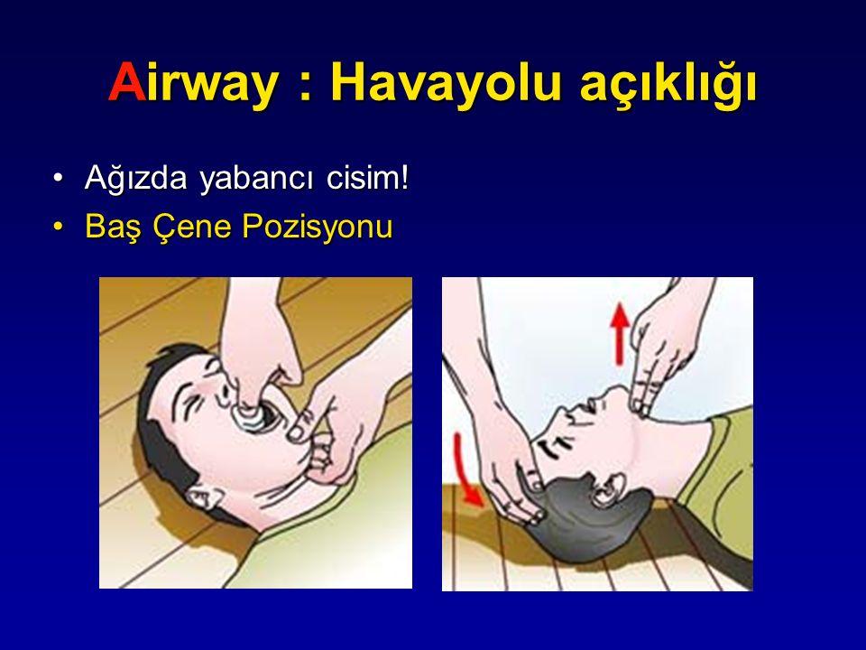 Airway : Havayolu açıklığı Ağızda yabancı cisim!Ağızda yabancı cisim! Baş Çene PozisyonuBaş Çene Pozisyonu