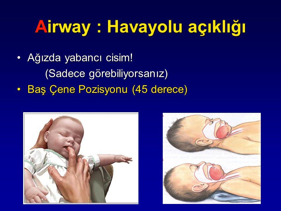 Airway : Havayolu açıklığı Ağızda yabancı cisim!Ağızda yabancı cisim! (Sadece görebiliyorsanız) Baş Çene Pozisyonu (45 derece)Baş Çene Pozisyonu (45 d