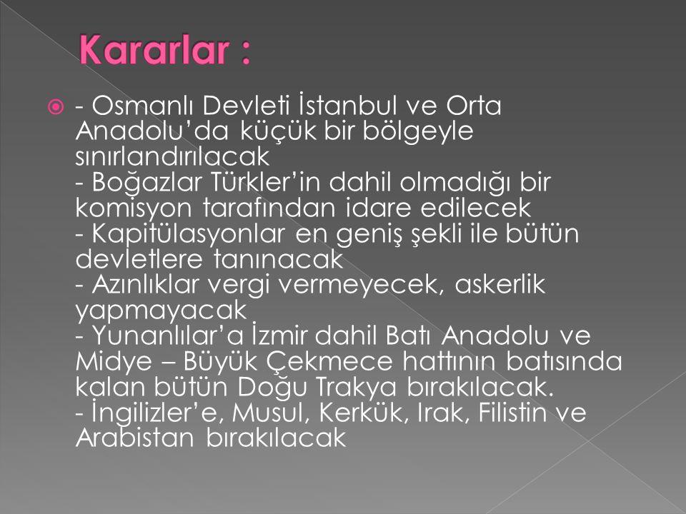  - Osmanlı Devleti İstanbul ve Orta Anadolu'da küçük bir bölgeyle sınırlandırılacak - Boğazlar Türkler'in dahil olmadığı bir komisyon tarafından idare edilecek - Kapitülasyonlar en geniş şekli ile bütün devletlere tanınacak - Azınlıklar vergi vermeyecek, askerlik yapmayacak - Yunanlılar'a İzmir dahil Batı Anadolu ve Midye – Büyük Çekmece hattının batısında kalan bütün Doğu Trakya bırakılacak.