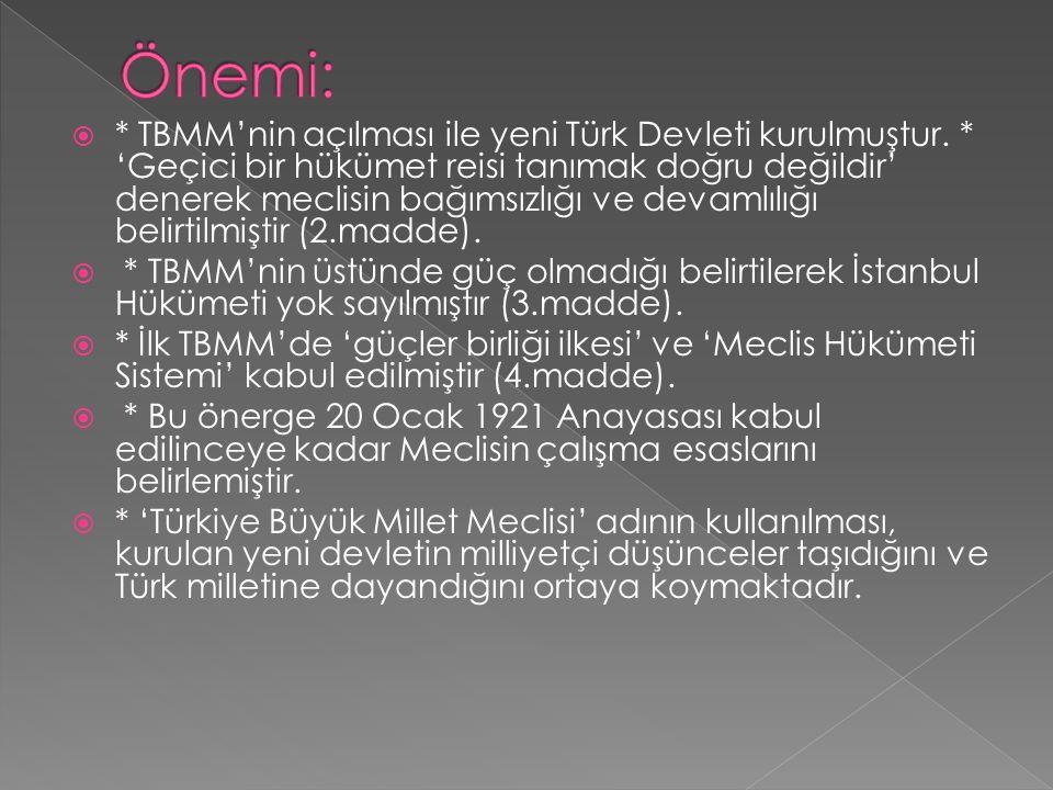  * TBMM'nin açılması ile yeni Türk Devleti kurulmuştur.