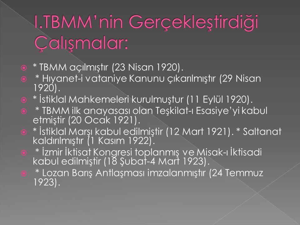  * TBMM açılmıştır (23 Nisan 1920).  * Hıyanet-i vataniye Kanunu çıkarılmıştır (29 Nisan 1920).
