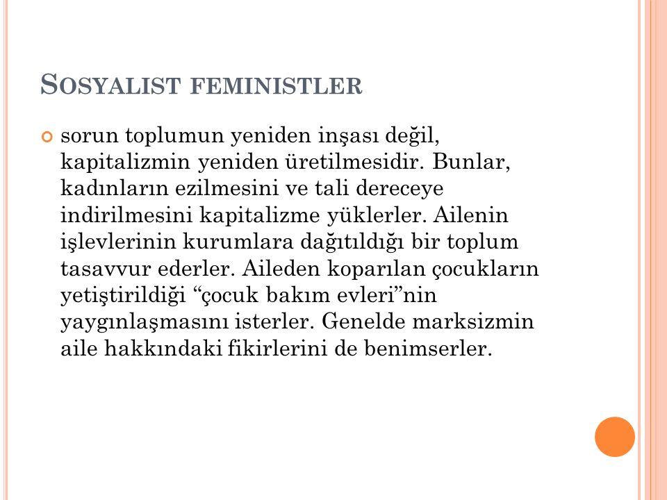 S OSYALIST FEMINISTLER sorun toplumun yeniden inşası değil, kapitalizmin yeniden üretilmesidir. Bunlar, kadınların ezilmesini ve tali dereceye indiril