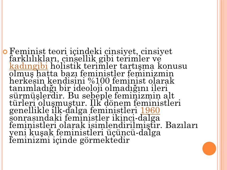 FEMINIZM Feminizmi genel olarak kadın-erkek ayrımcılığına karşı çıkarak, cinsler arasında siyasal, ekonomik ve toplumsal eşitliği savunan görüş olarak tanımlamak mümkündür.