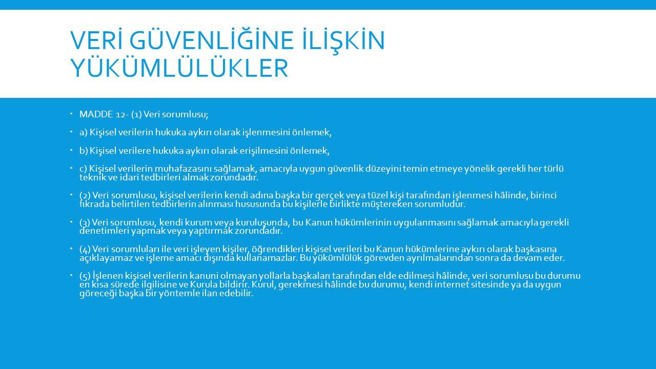 SUÇLAR VE KABAHATLER  Suçlar  MADDE 17- (1) Kişisel verilere ilişkin suçlar bakımından 26/9/2004 tarihli ve 5237 sayılı Türk Ceza Kanununun 135 ila 140 ıncı madde hükümleri uygulanır.