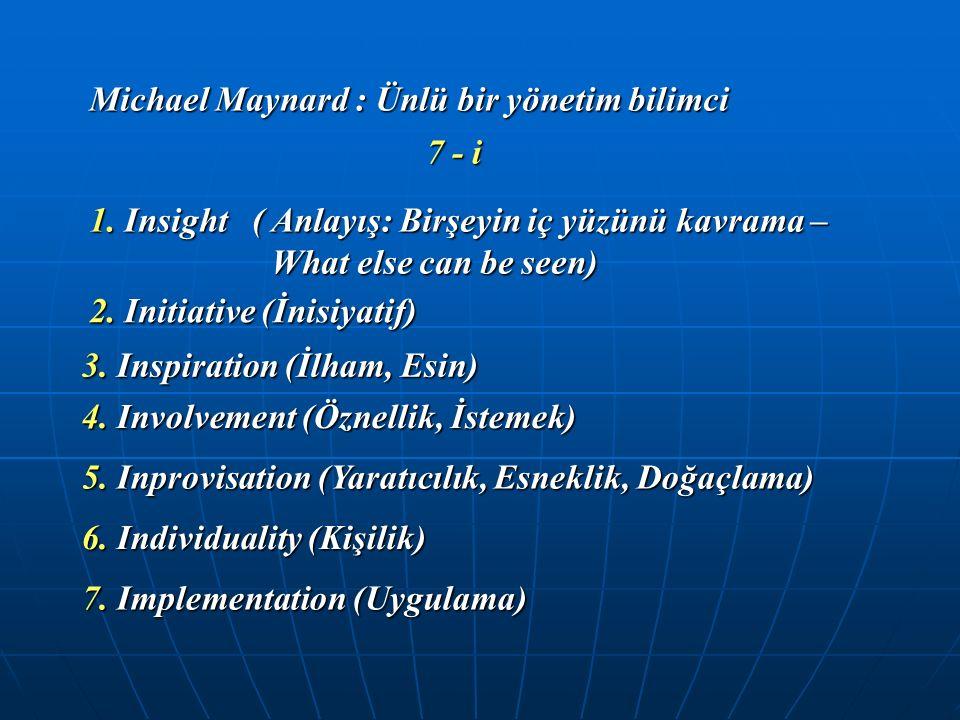 Michael Maynard : Ünlü bir yönetim bilimci 7 - i 1. Insight ( Anlayış: Birşeyin iç yüzünü kavrama – What else can be seen) 2. Initiative (İnisiyatif)