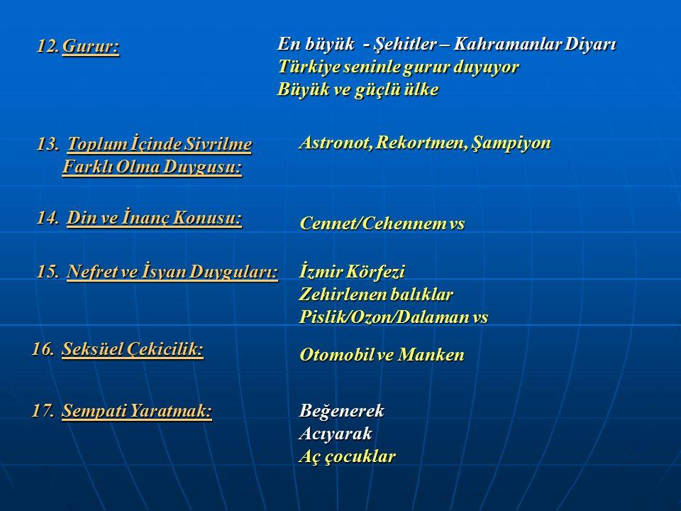 12.Gurur: En büyük - Şehitler – Kahramanlar Diyarı Türkiye seninle gurur duyuyor Büyük ve güçlü ülke 13. Toplum İçinde Sivrilme Farklı Olma Duygusu: A