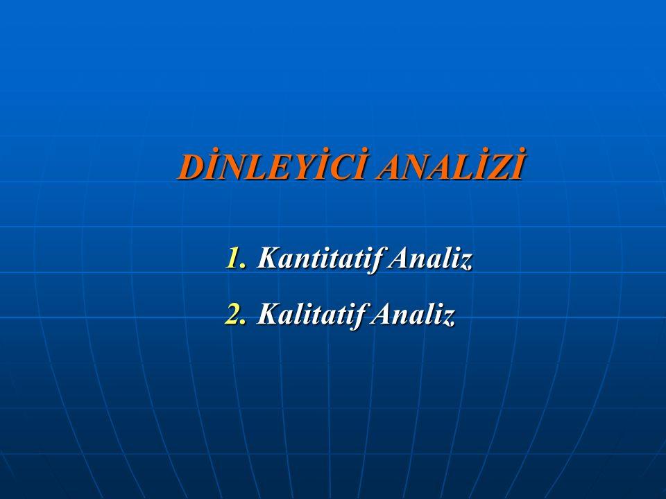 DİNLEYİCİ ANALİZİ 1. Kantitatif Analiz 2. Kalitatif Analiz