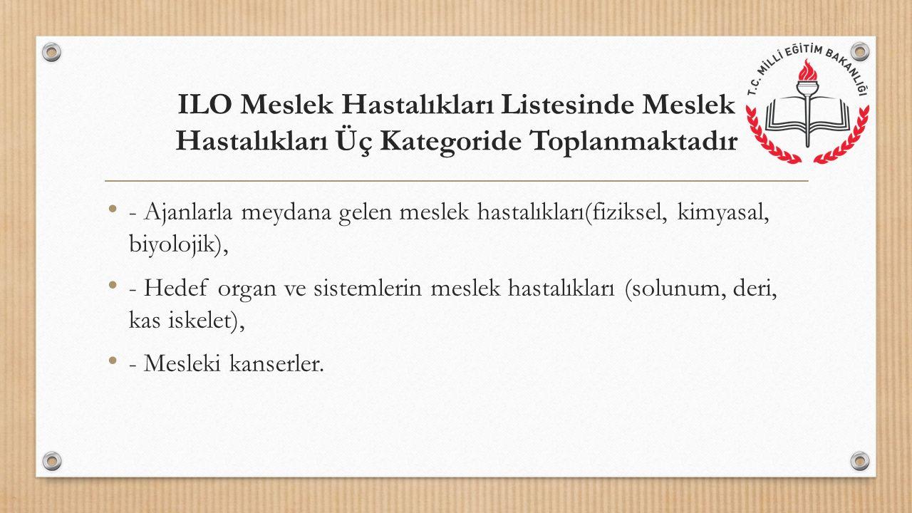ILO Meslek Hastalıkları Listesinde Meslek Hastalıkları Üç Kategoride Toplanmaktadır - Ajanlarla meydana gelen meslek hastalıkları(fiziksel, kimyasal,