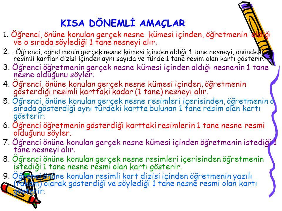 KISA DÖNEMLİ AMAÇLAR 1.