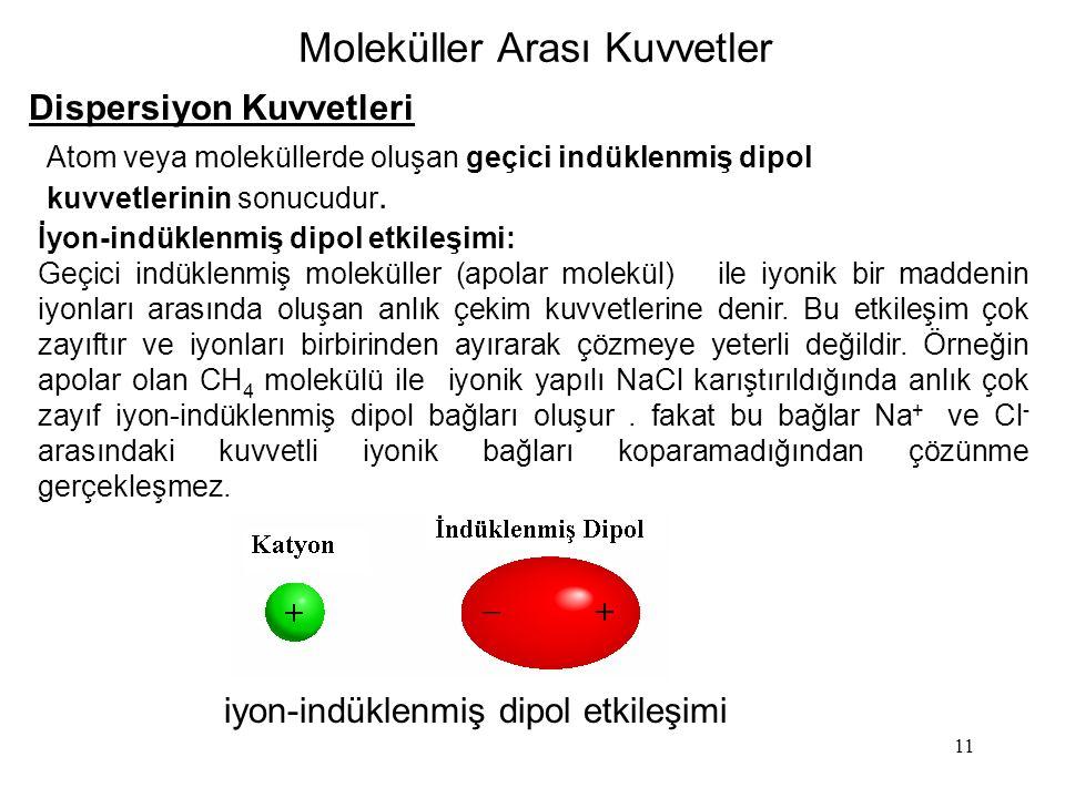 11 Moleküller Arası Kuvvetler Dispersiyon Kuvvetleri Atom veya moleküllerde oluşan geçici indüklenmiş dipol kuvvetlerinin sonucudur. iyon-indüklenmiş