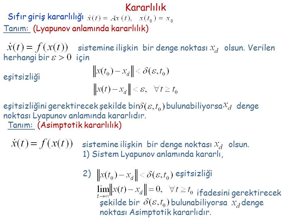 Teorem: Sistemi Lyapunov anlamında kararlıdır Nasıl oluyorda sistemin Lyapunov anlamında kararlılığından bahsedebiliyoruz.