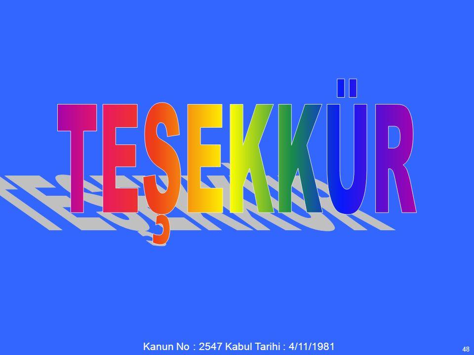 Kanun No : 2547 Kabul Tarihi : 4/11/1981 48
