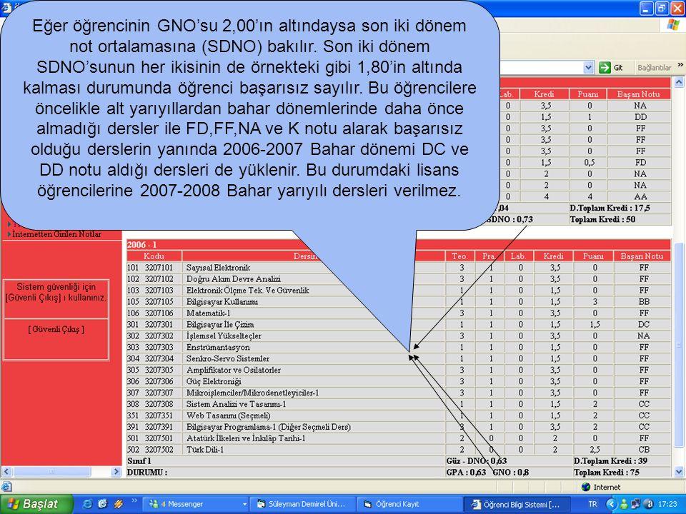 Eğer öğrencinin GNO'su 2,00'ın altındaysa son iki dönem not ortalamasına (SDNO) bakılır. Son iki dönem SDNO'sunun her ikisinin de örnekteki gibi 1,80'