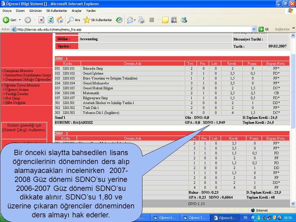 Bir önceki slaytta bahsedilen lisans öğrencilerinin döneminden ders alıp alamayacakları incelenirken 2007- 2008 Güz dönemi SDNO'su yerine 2006-2007 Gü