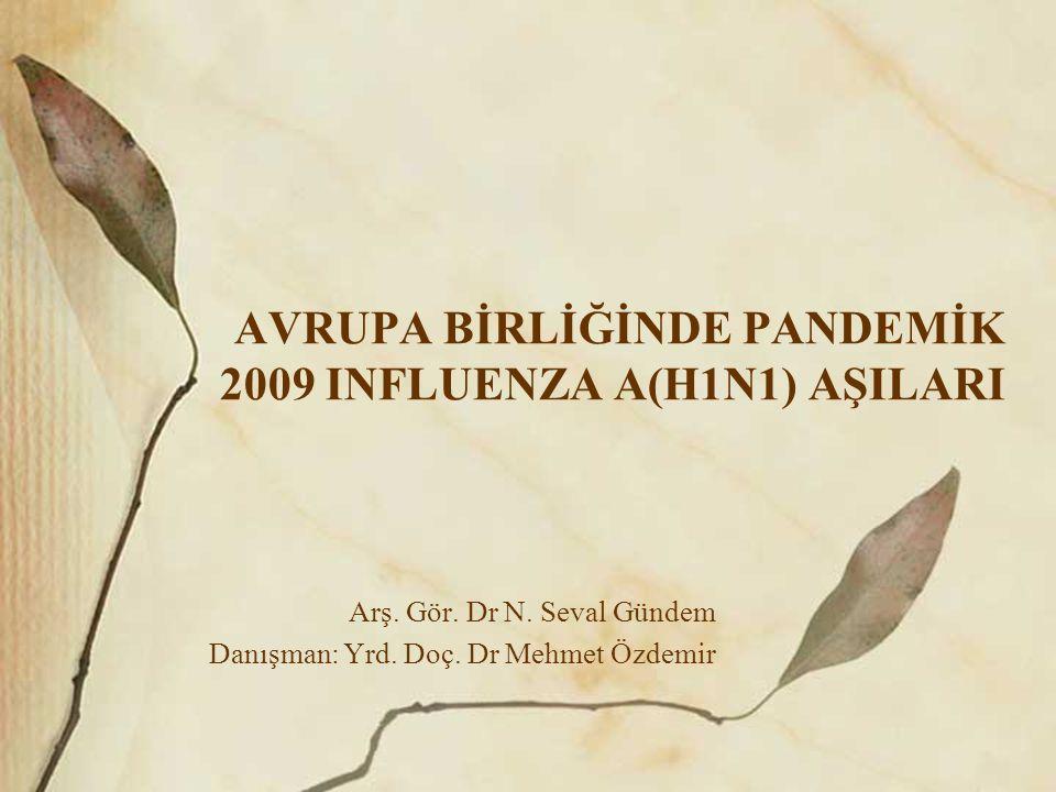 AVRUPA BİRLİĞİNDE PANDEMİK 2009 INFLUENZA A(H1N1) AŞILARI Arş.
